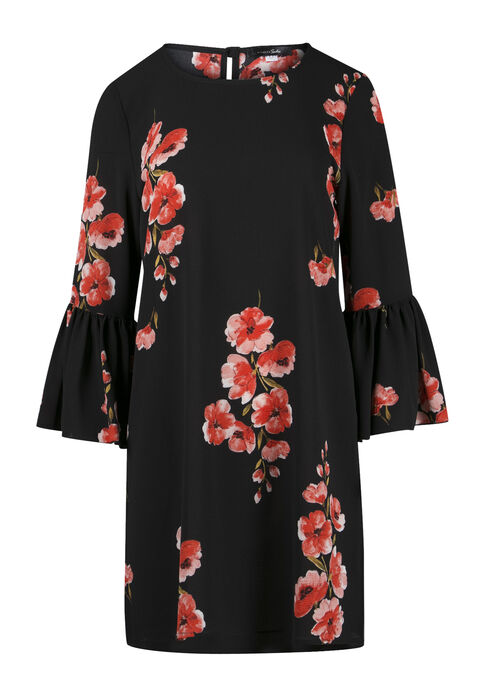 Ladies' Floral Bell Sleeve Dress, BLACK, hi-res