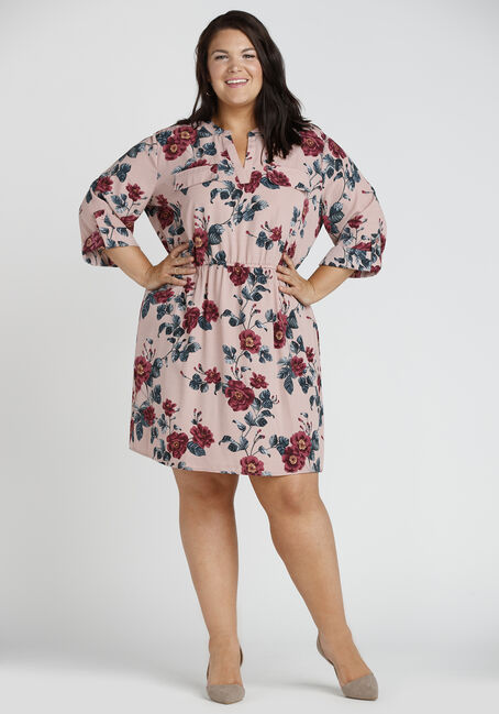Ladies' Roll Sleeve Shirt Dress, PINK PRINT, hi-res