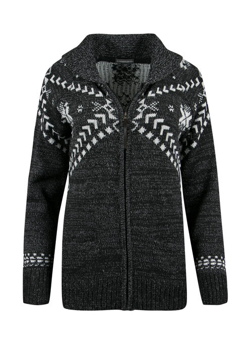 Ladies' Nordic Zip Cardigan, CHARCOAL/ IVORY, hi-res