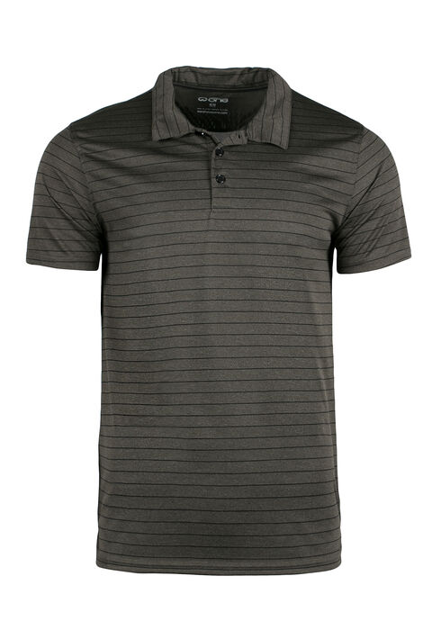 Men's Athletic Striped Polo, Olive, hi-res