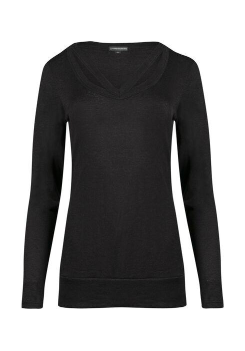 Ladies' Split Neck Tunic Top, BLACK, hi-res