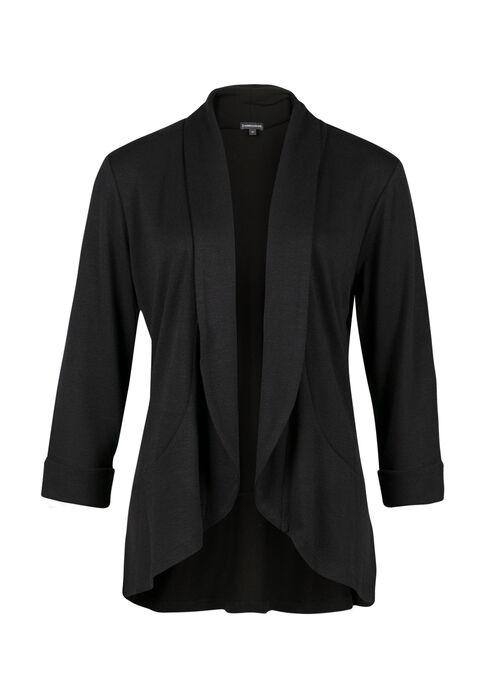 Ladies' Knit Open Blazer, BLACK, hi-res