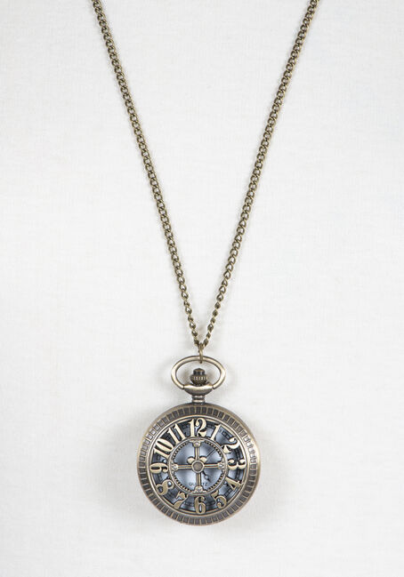 Ladies' Pocket Watch Necklace, GOLD, hi-res