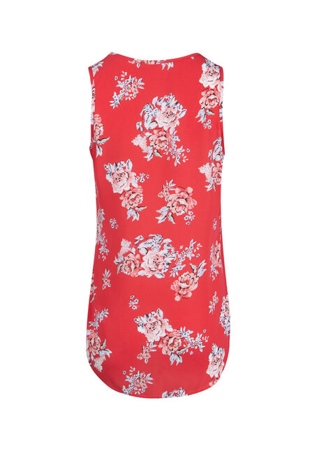 Ladies' Cage Neck Floral Tank, RED, hi-res