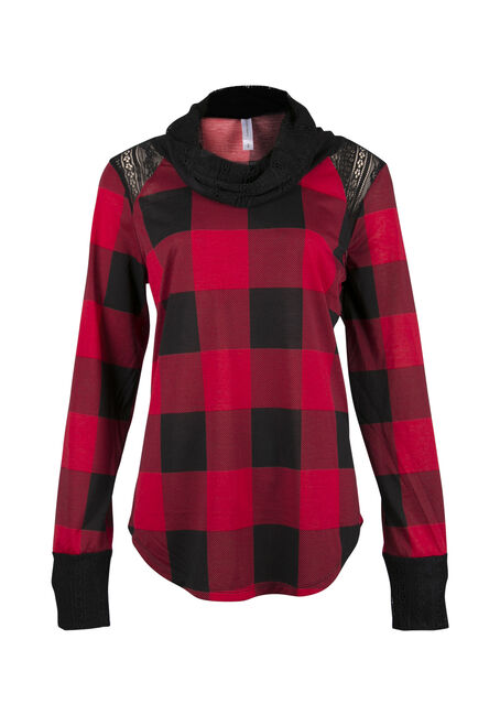 Ladies' Plaid Cowl Neck Top, TRUE RED, hi-res