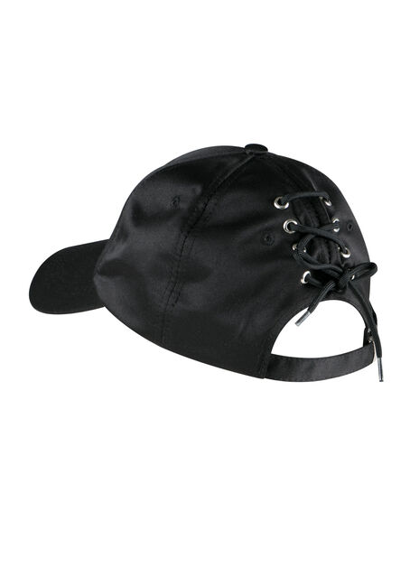 Ladies' Laced Back Baseball Hat, BLACK, hi-res