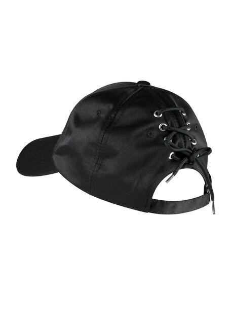 Ladies' Laced Back Baseball Hat, BLACK, hi-res