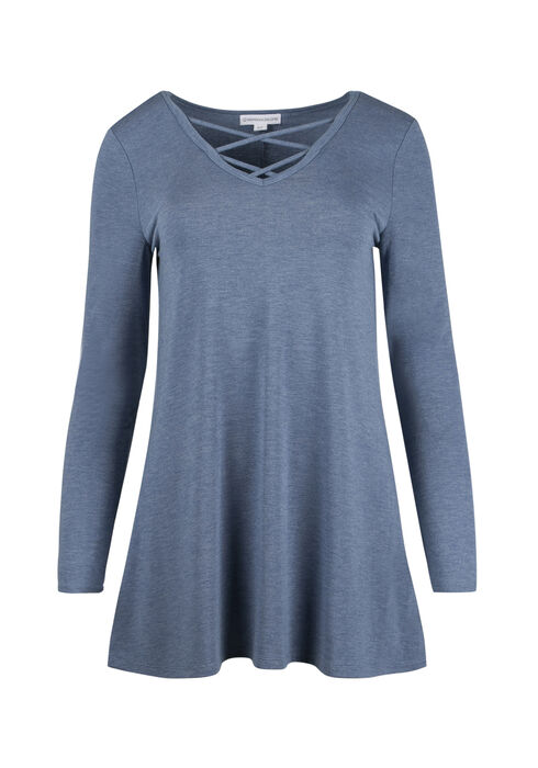Ladies' Cage Neck Tunic Tee, SD PERIWINKLE, hi-res
