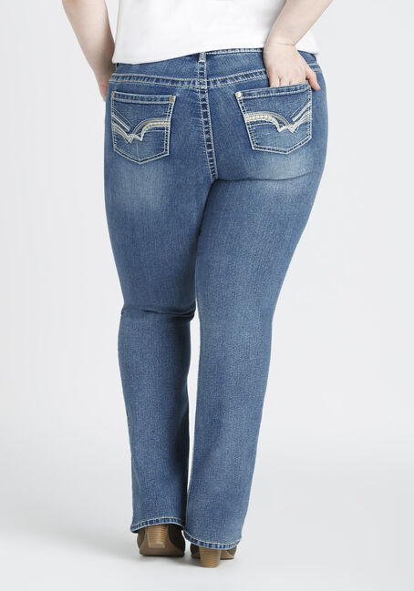 Ladies' Plus Size Baby Boot Jeans, MEDIUM WASH, hi-res