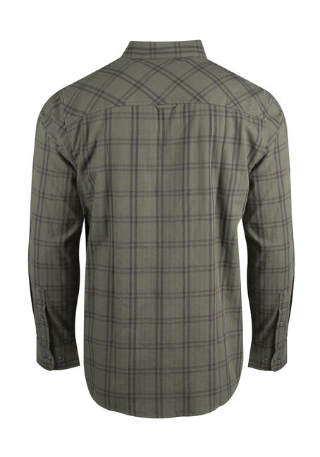 Men's Relaxed Tonal Plaid Shirt, DARK OLIVE, hi-res