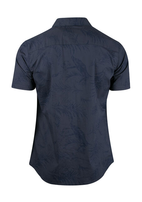 Men's Tropical Print Shirt, BLUE, hi-res