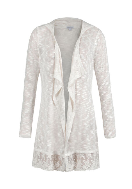 Ladies' Lace Hem Open Cardigan