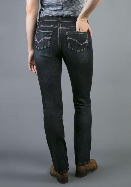 Ladies' Hi-Rise Straight Dark Jeans, DARK VINTAGE WASH, hi-res