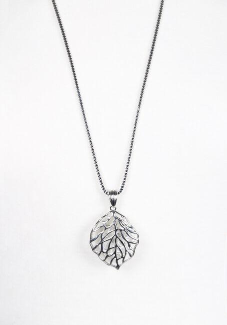Ladies' Leaf Necklace, SILVER, hi-res