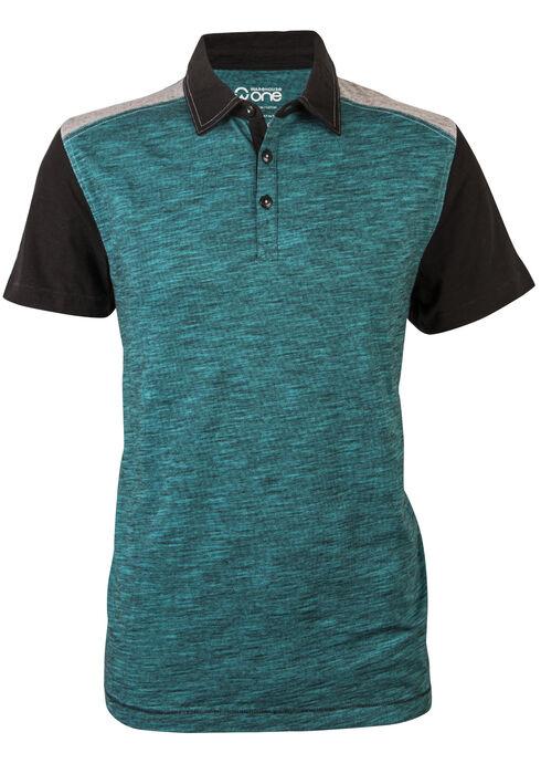 Men's Colourblocked Polo Shirt, AQUA, hi-res