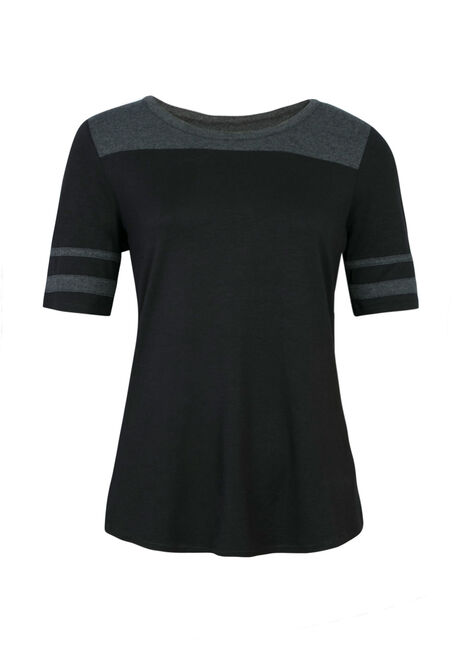 Ladies' Football Tee, BLACK/ H.GREY, hi-res
