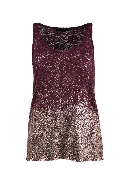 Ladies' Lace Ombre Sparkle Tank, WINE/BLUSH, hi-res