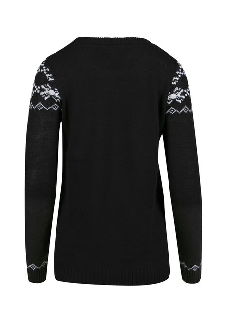 Ladies' Snowman Sweater, BLACK, hi-res