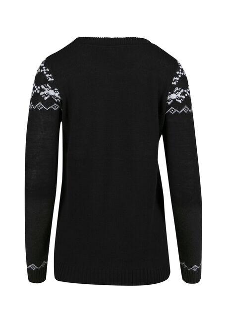 Ladies' Snowman Sweater, BLACK, hi-res