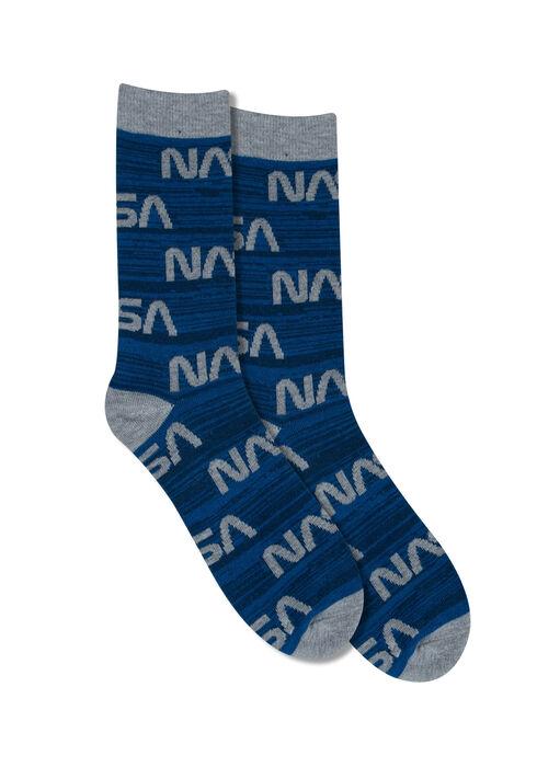 Men's NASA Crew Sock, BLUE, hi-res