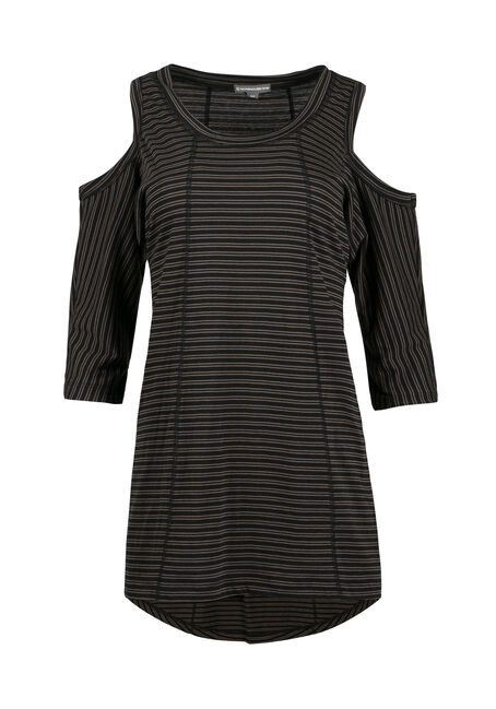 Ladies' Stripe Cold Shoulder Top, MILITARY, hi-res