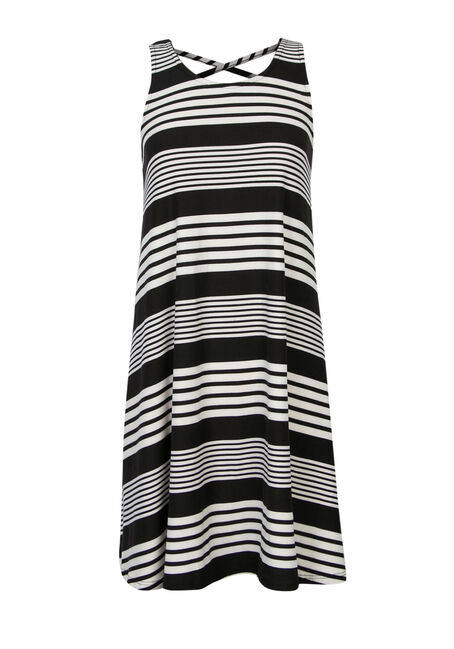 Ladies' A-Line Dress, BLK/WHT, hi-res