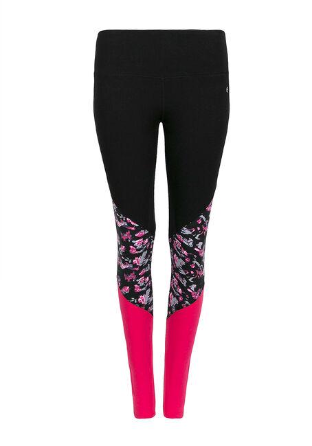 Ladies' Colour Block Legging, BLACK, hi-res