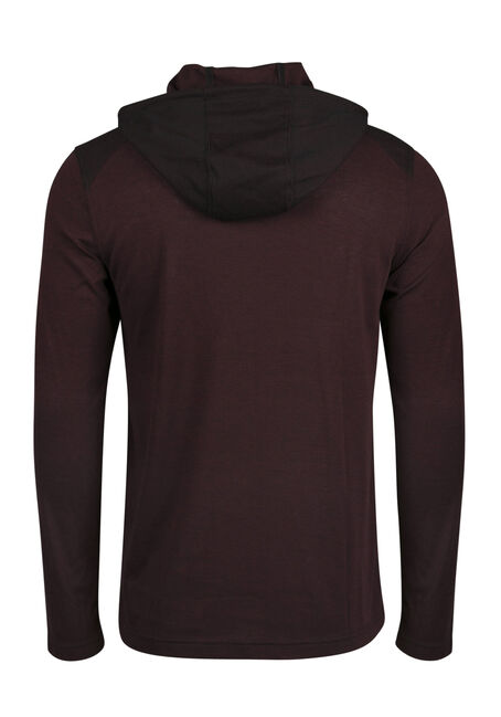 Men's Colour Block Hoodie, RED, hi-res