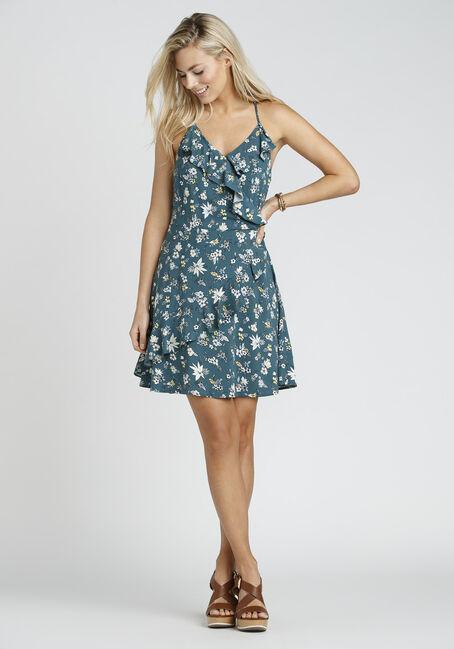 Ladies' Floral Ruffle Wrap Dress, TEAL MULTI, hi-res