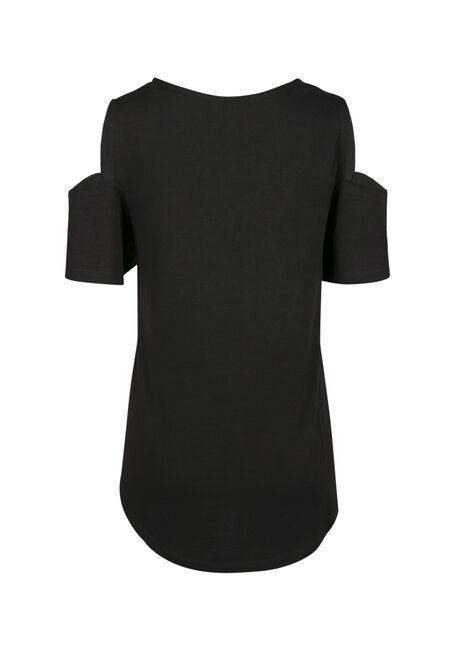 Ladies' Rose Tile Cold Shoulder Top, BLACK, hi-res