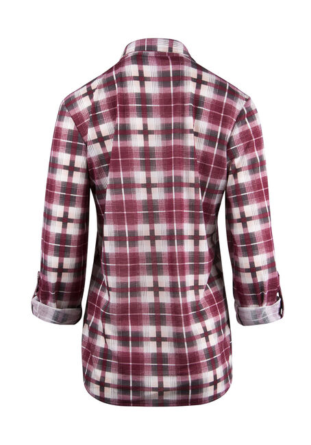 Ladies' Relaxed Fit Knit Plaid Shirt, WINE, hi-res