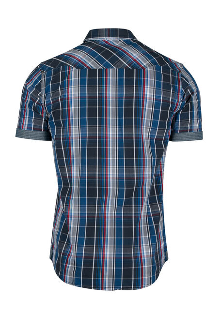 Men's Washed Plaid Shirt, NAVY, hi-res