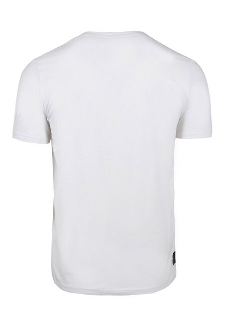 Men's V-neck Graphic Tee, WHITE, hi-res