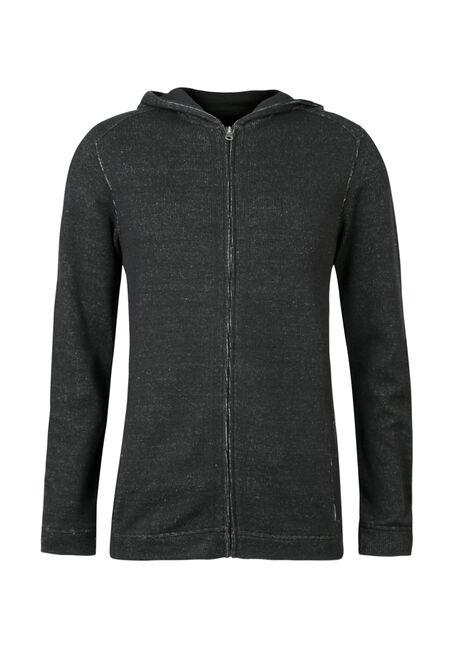 Men's Hooded Cardigan, BLACK, hi-res