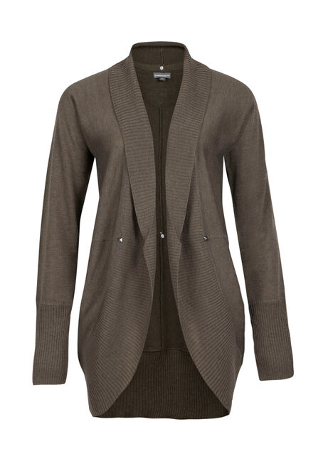 Ladies' Cocoon Cardigan, MILITARY, hi-res