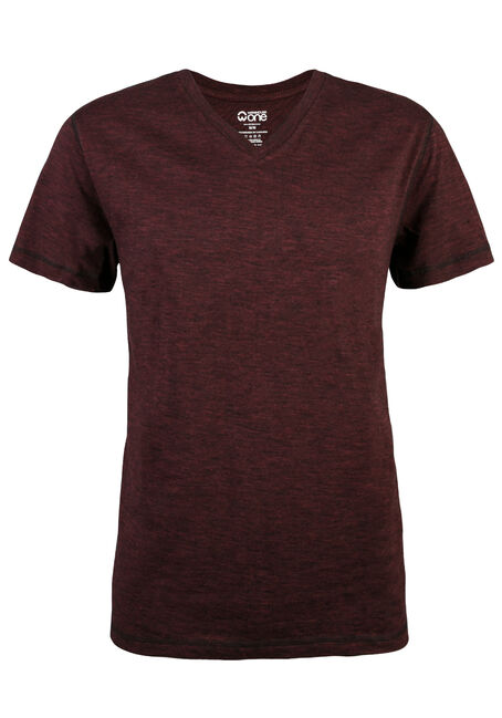Men's V-neck 2 Tone Tee, BURGUNDY, hi-res