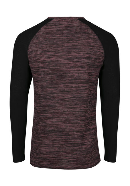 Men's Baseball Henley Tee, CRANBERRY, hi-res