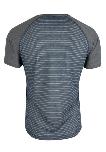 Men's Striped Henley Tee, BLUE, hi-res