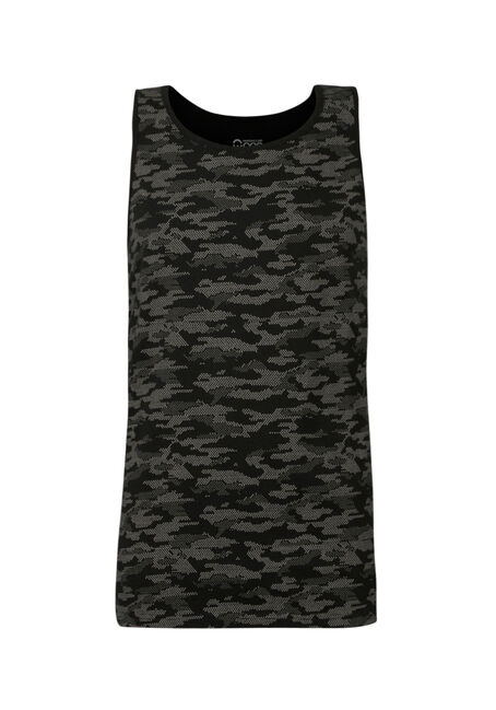 Men's Camo Print Tank, BLACK, hi-res