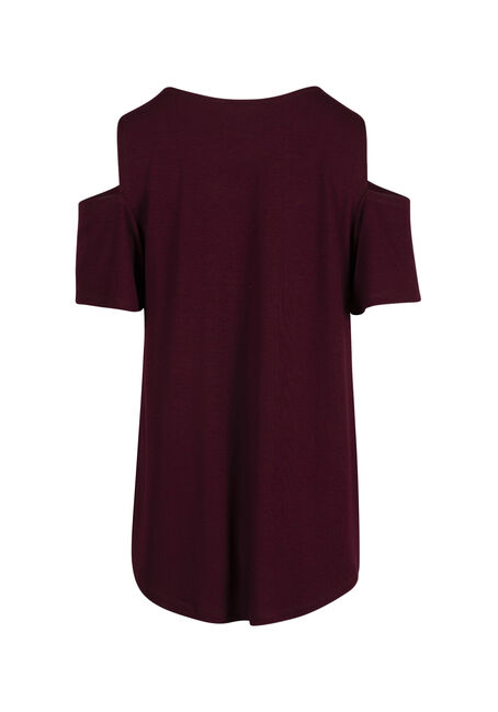 Ladies' Live & Love Cold Shoulder Top, MULBERRY, hi-res