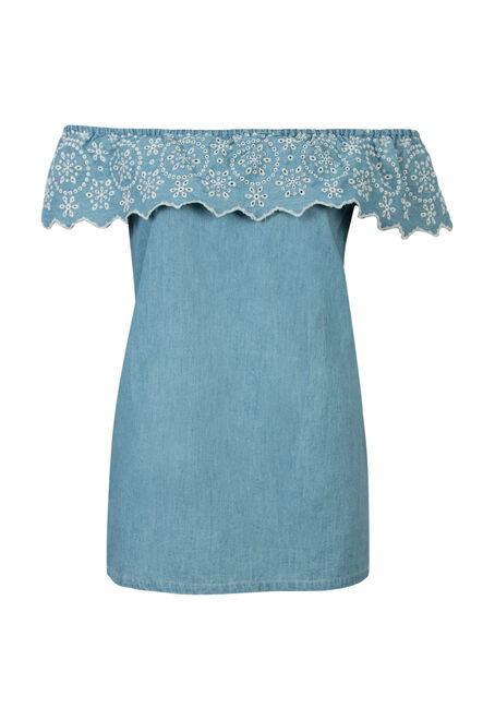 Ladies' Eyelet Chambray Bardot Top, MEDIUM VINTAGE WASH, hi-res