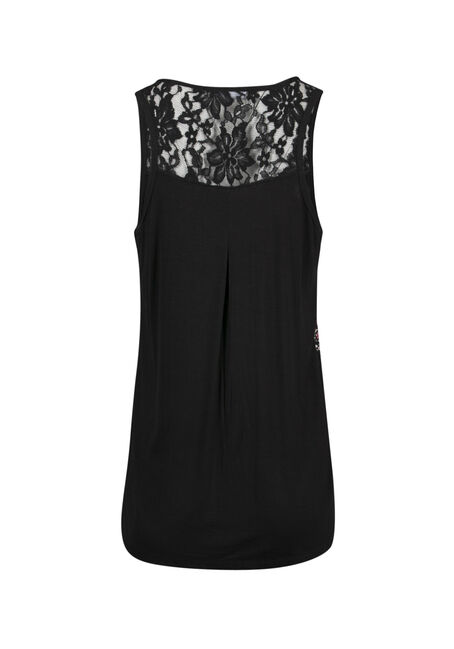 Ladies' Floral Lace Trim Tank, BLACK, hi-res