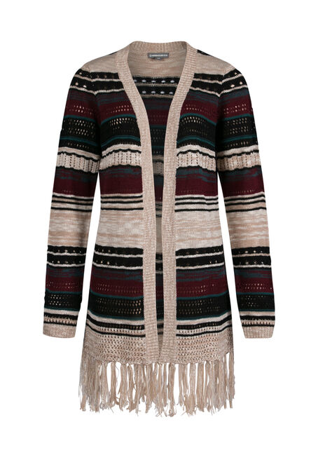 Ladies' Stripe Open Cardigan, MULTI, hi-res