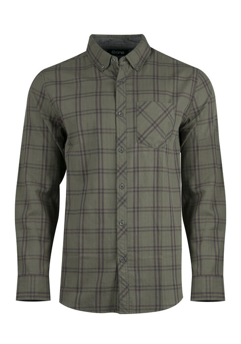 Men's Relaxed Tonal Plaid Shirt, DARK OLIVE, hi-res