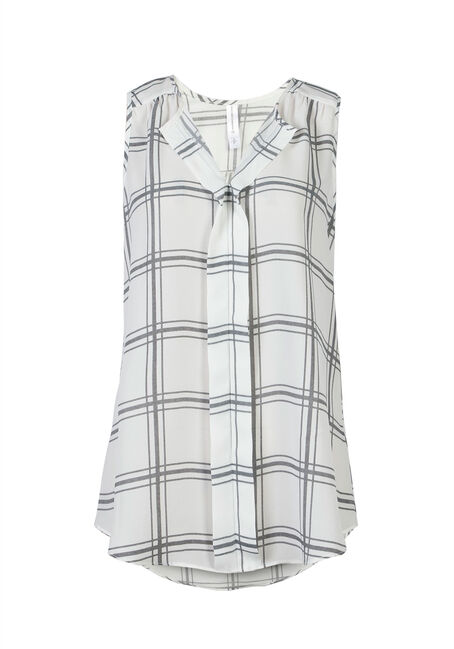 Ladies' Plaid Pleat Front Tank, IVORY, hi-res