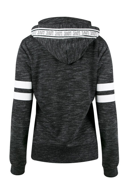 Ladies' Love Colour Block Hoodie, MARLED BLACK, hi-res