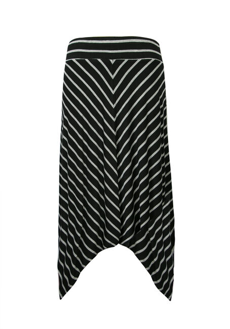 Ladies' Mitered Stripe Sharkbite Skirt, BLK/GREY, hi-res