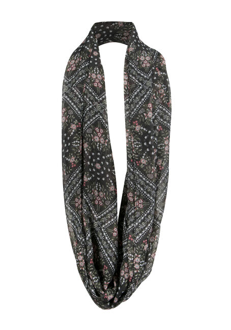 Ladies' Floral Infinity Scarf, LIGHT OLIVE, hi-res