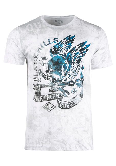 Men's Black Hills Skull Tee, WHITE, hi-res