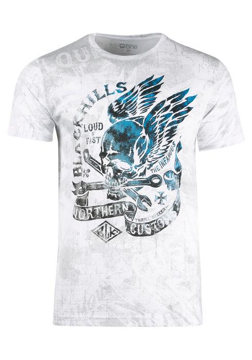 Men's Black Hills Skull Tee, WHITE, hi-res